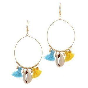Gold Hoop Shell Beaded Fringe Dangle Earrings